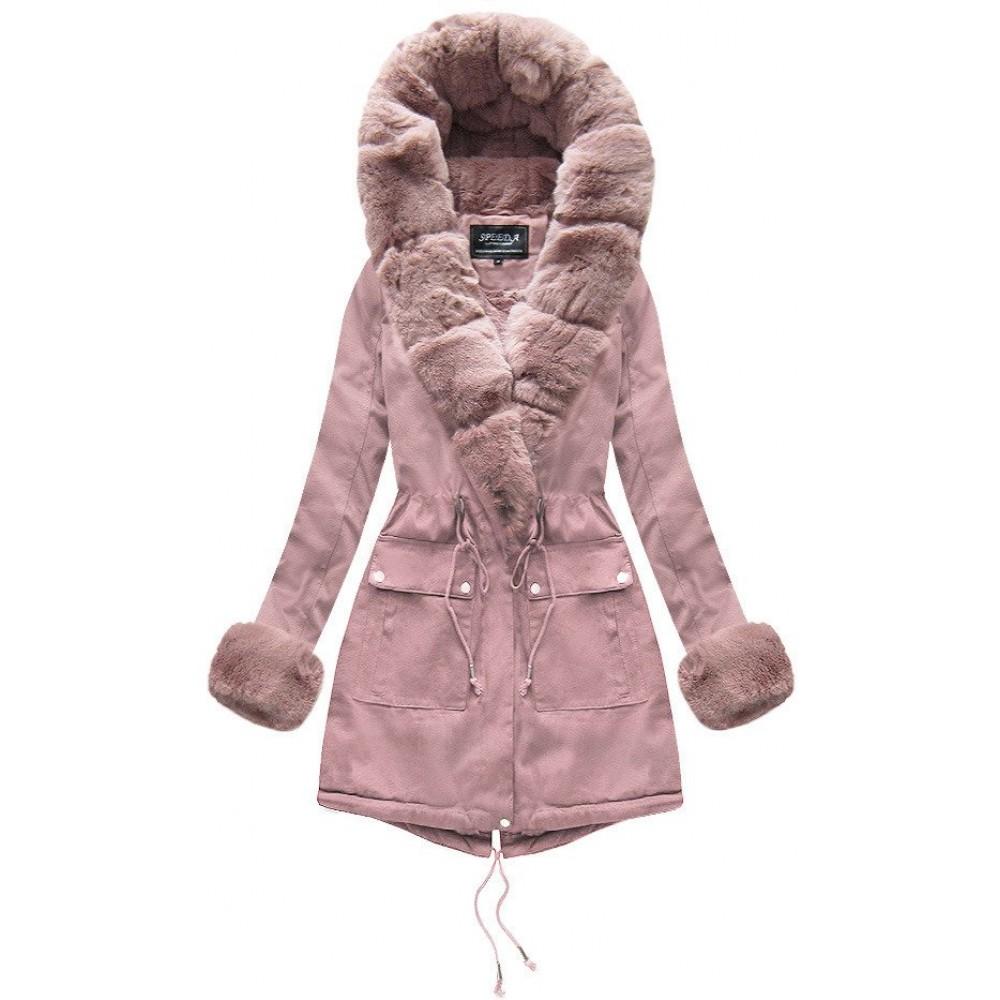 Bavlněná PARKA s Fur starožitné růžová (XW805X)